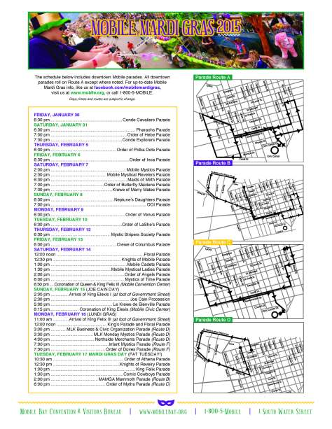 Mardi Gras  2015 Schedule and Maps