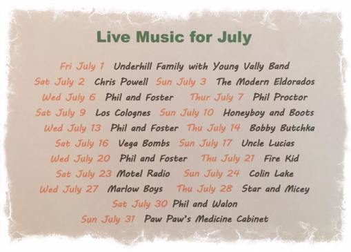 Calli's July Music Schedule
